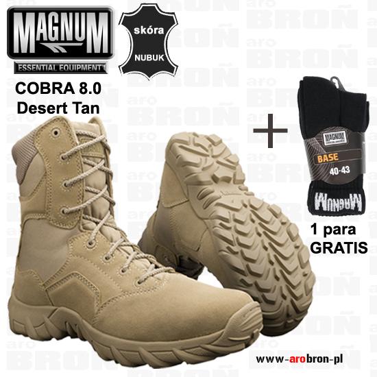 c5bd93cf Buty Magnum COBRA 8.0 DESERT TAN - pustynne, taktyczne, dla służb  mundurowych + SKARPETY